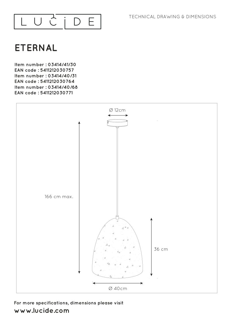 ETERNAL Pendant E27 D40cm White