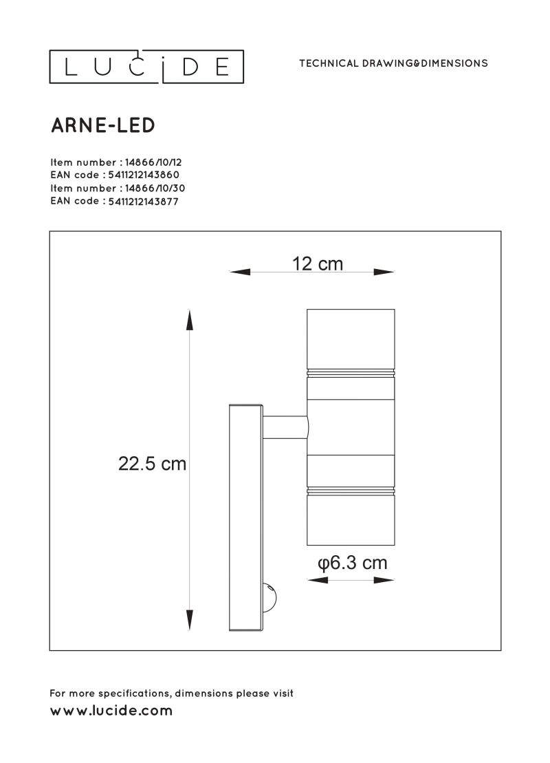 ARNE-LED Wall Light +IR 2xGU10/5W 2700K