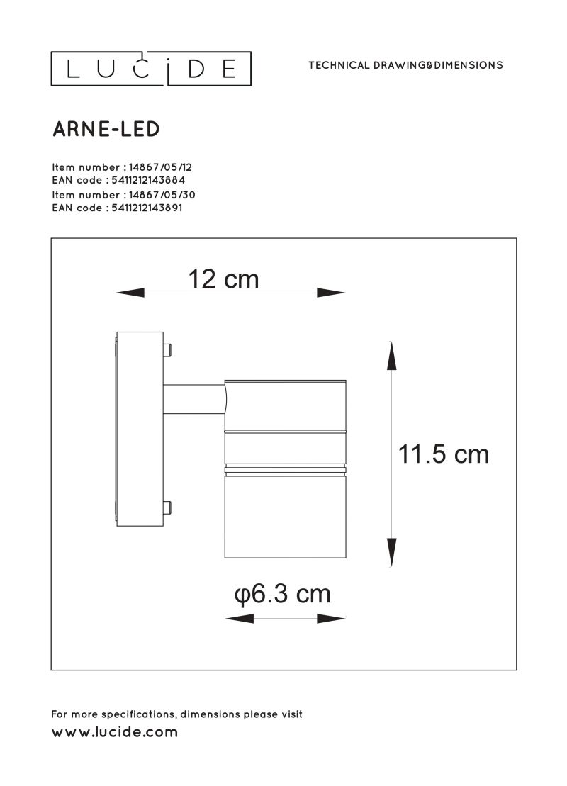 ARNE-LED Outdoor Wall lamp 1xGU10/5W Bla