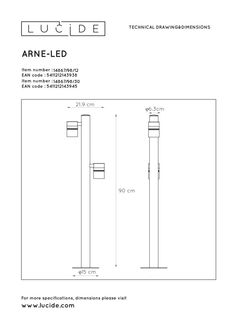 ARNE-LED Post H90cm 2xGU10/5W 350LM 2700
