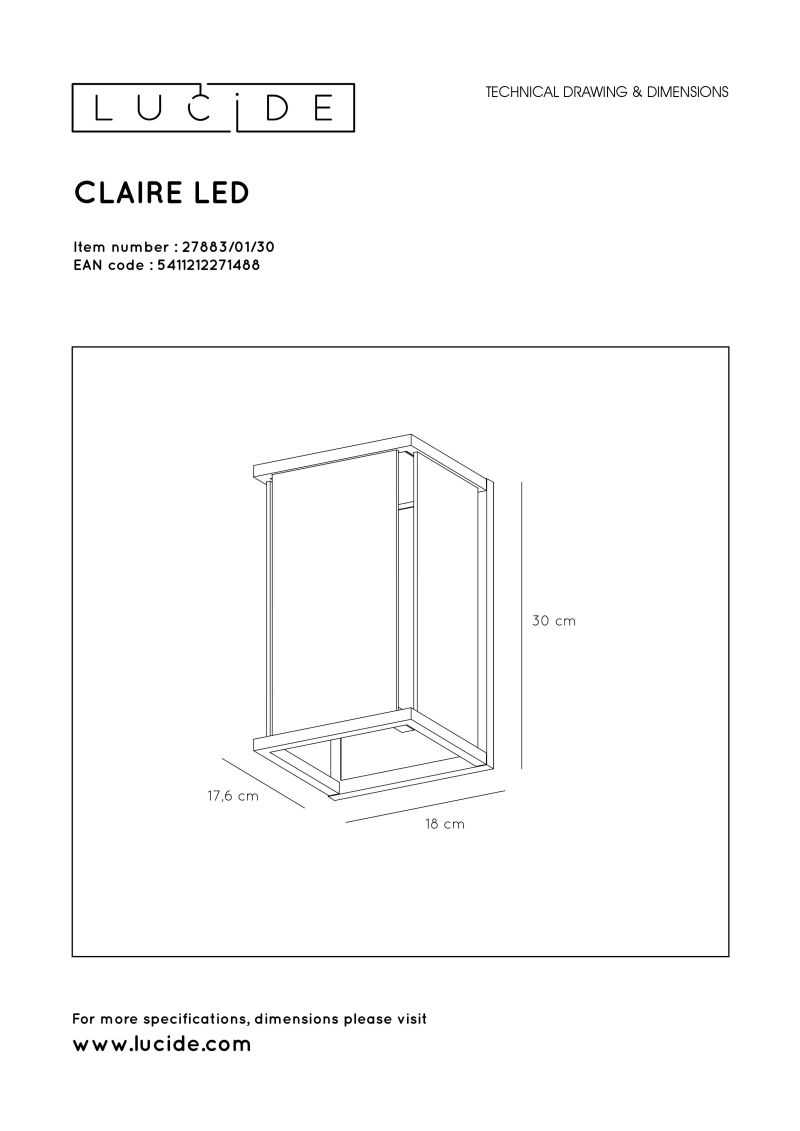 CLAIRE Wall Light LED IP54 E27 Black